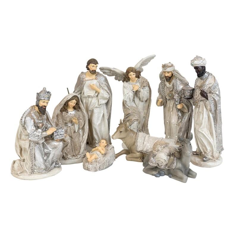 Nativity-9 Piece Silver & White
