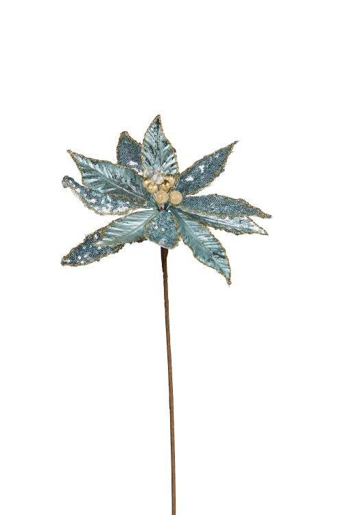 Poinsettia-Teal Stem