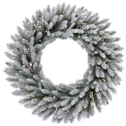 Wreath-Snowy Morgan 122cm w Lights