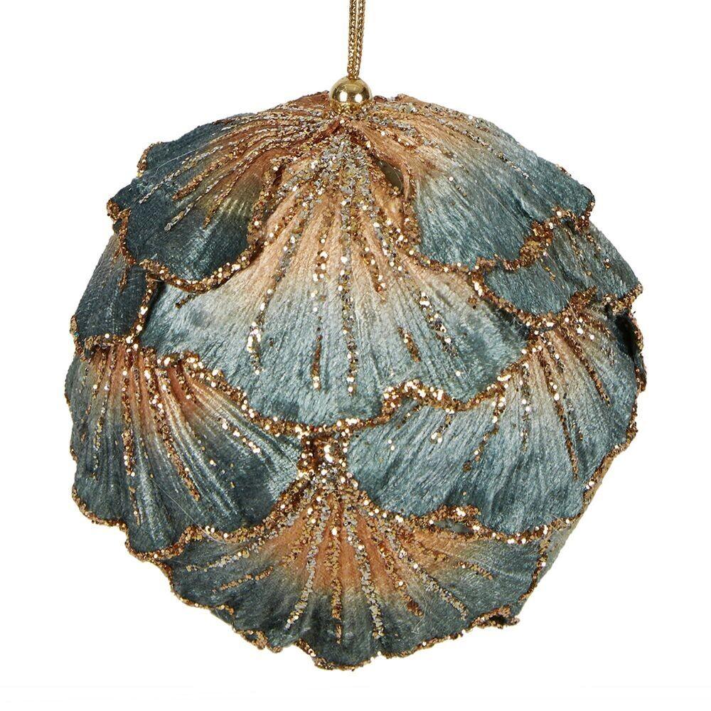 Bauble-Ginko Leaf Blue/Gold