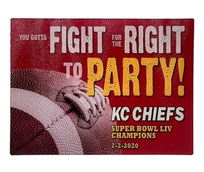 KC Chiefs Super Bowl Glass Cutting Board
