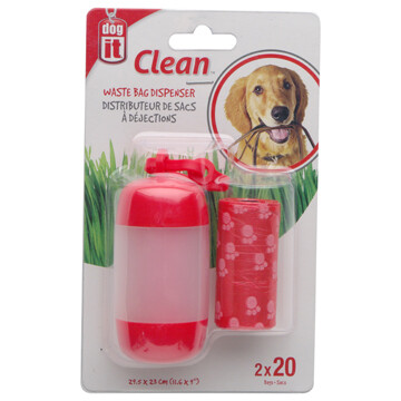 DOGIT BAG DISPENSER -2 ROLLS/20BAGS RED.