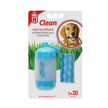 DOGIT BAG DISPENSER - 2 ROLLS/20 BAGS BLUE