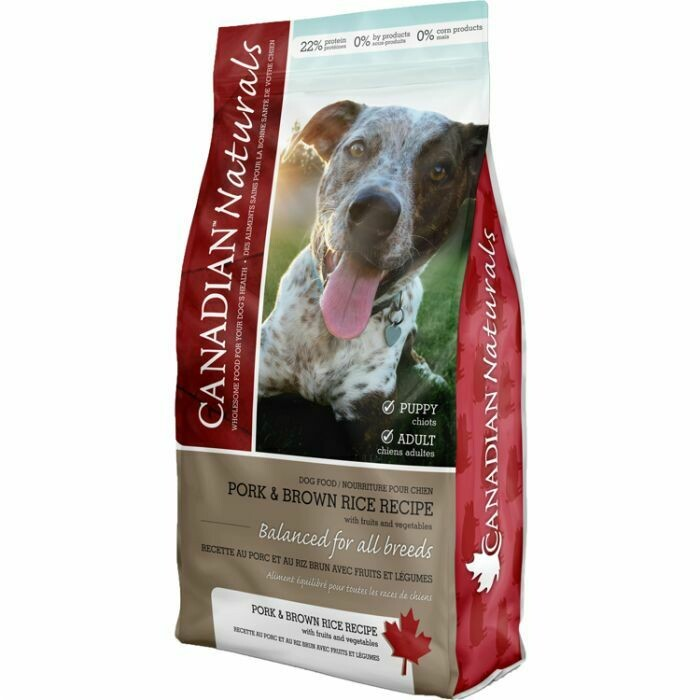 CANADIAN NATURALS DOG PORK & BROWN RICE 11.6KG.
