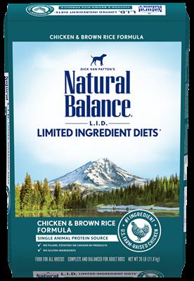 NATURAL BALANCE DOG CHICKEN & BROWN RICE 11.8KG.
