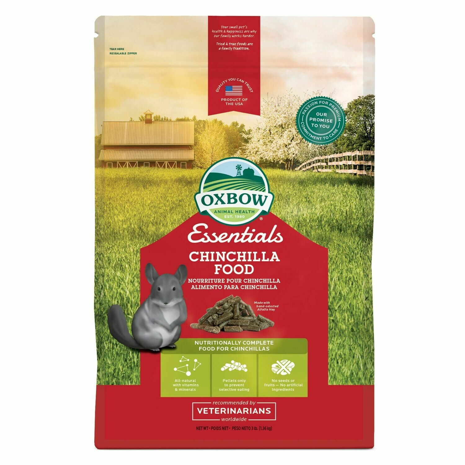 OXBOW CHINCHILLA FOOD 3LB.