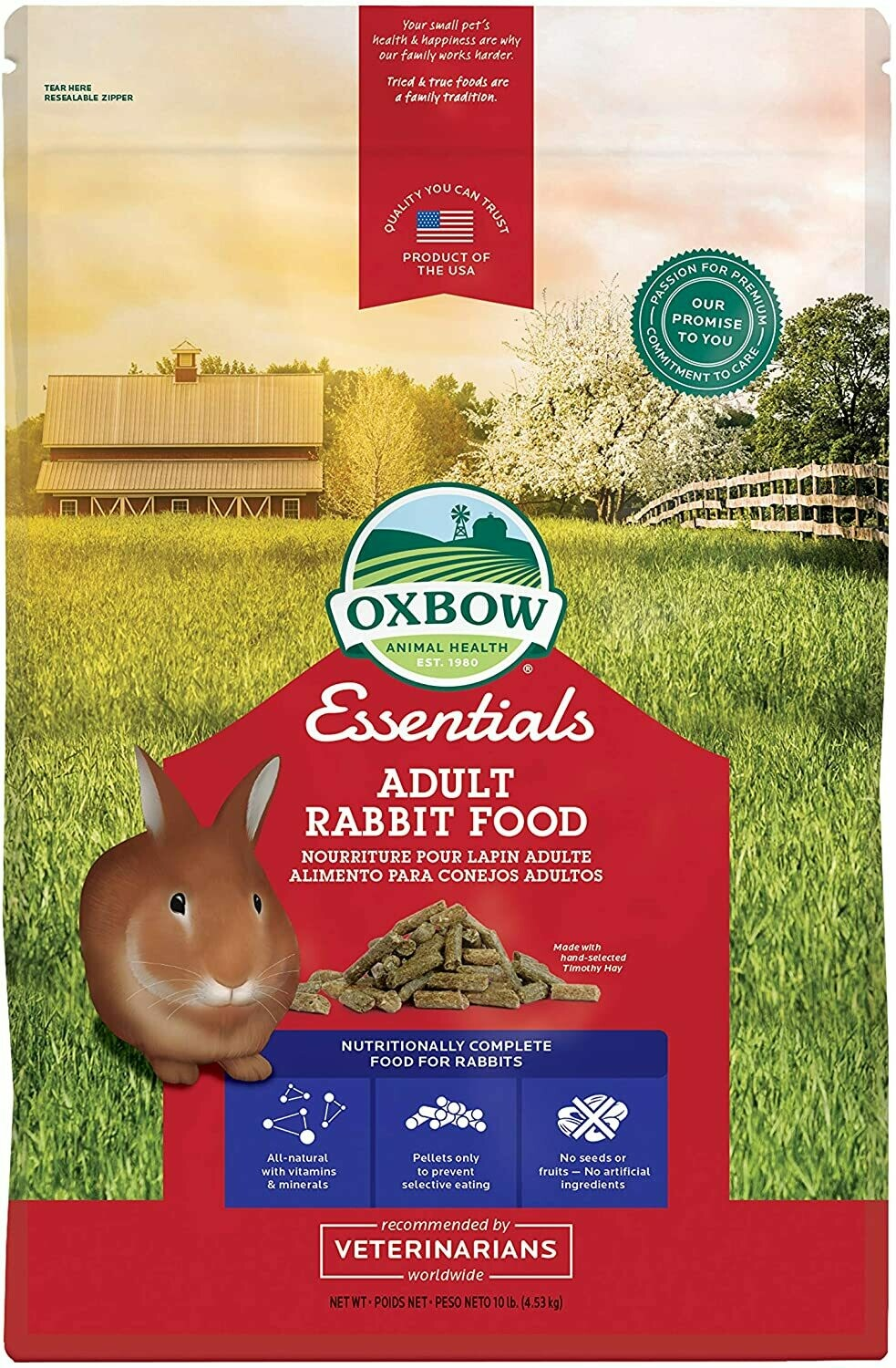 OXBOW ADULT RABBIT FOOD 10LB.