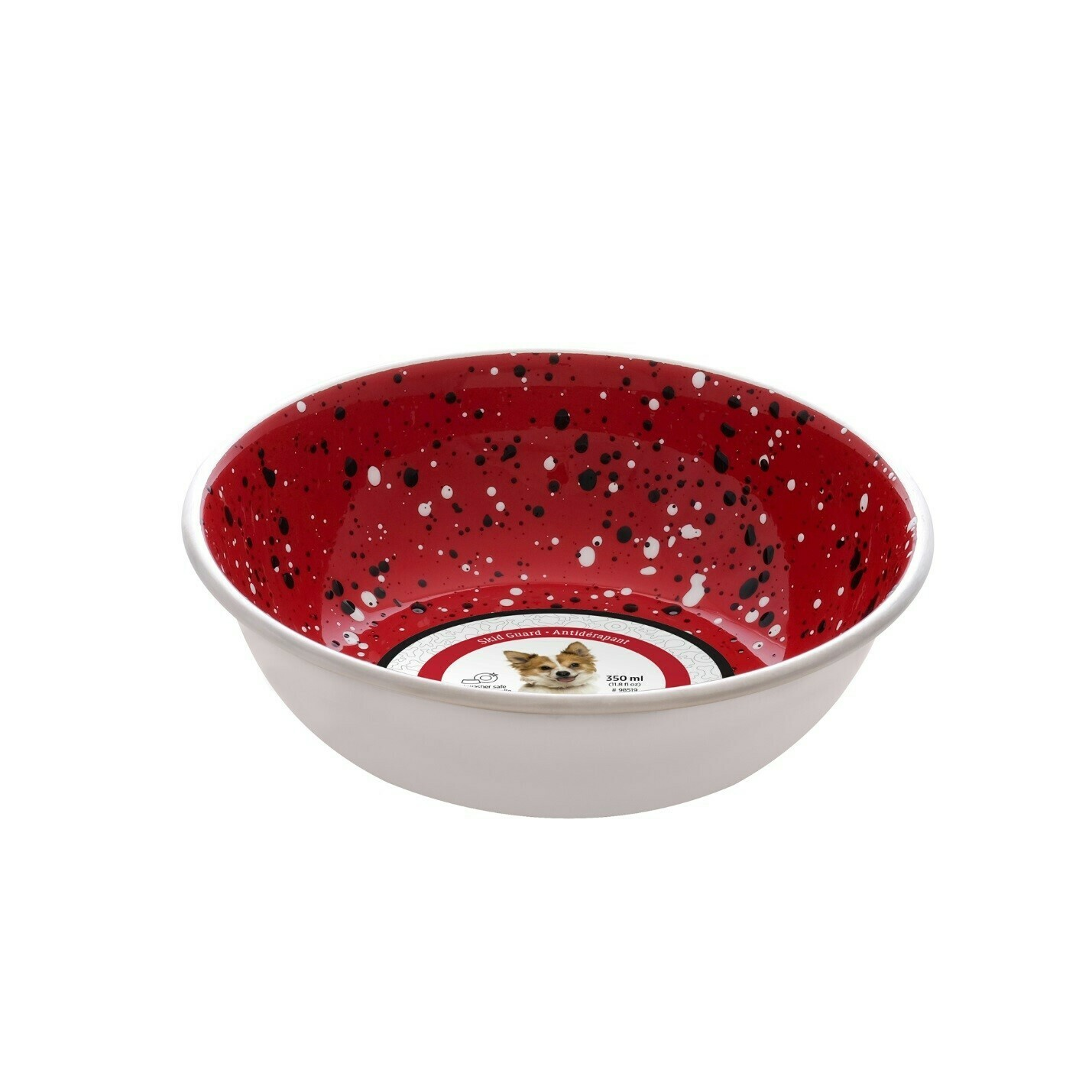 DOG IT STAINLESS STEEL BOWL RED SPECKLE 350ML.