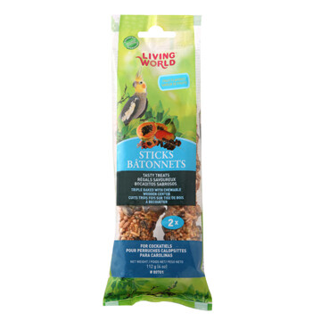 LIVING WORLD COCKATIEL FRUIT TREAT STICK 112G-2PK.
