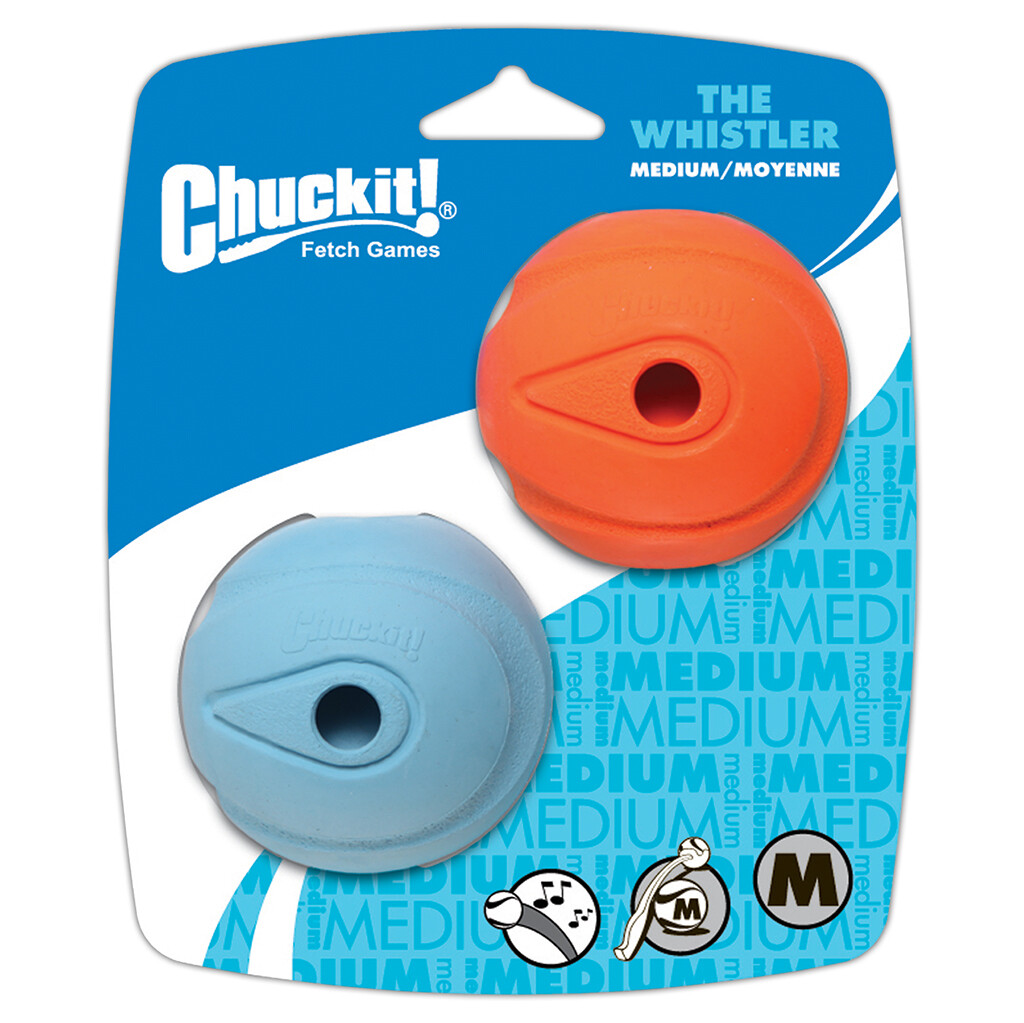 CHUCKIT WHISTLE BALL MED 2PK.