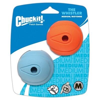 CHUCKIT WHISTLE BALL MED 2PK.