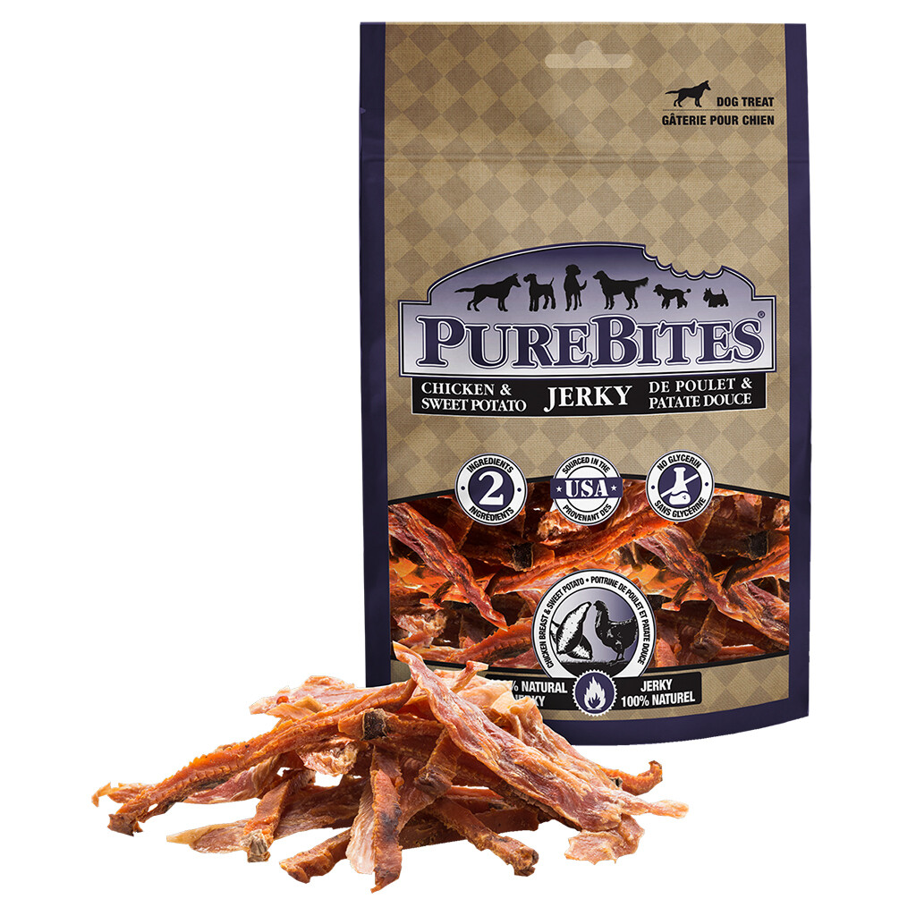 PURE BITES CHICKEN & SWEET POTATO JERKEY 180G.