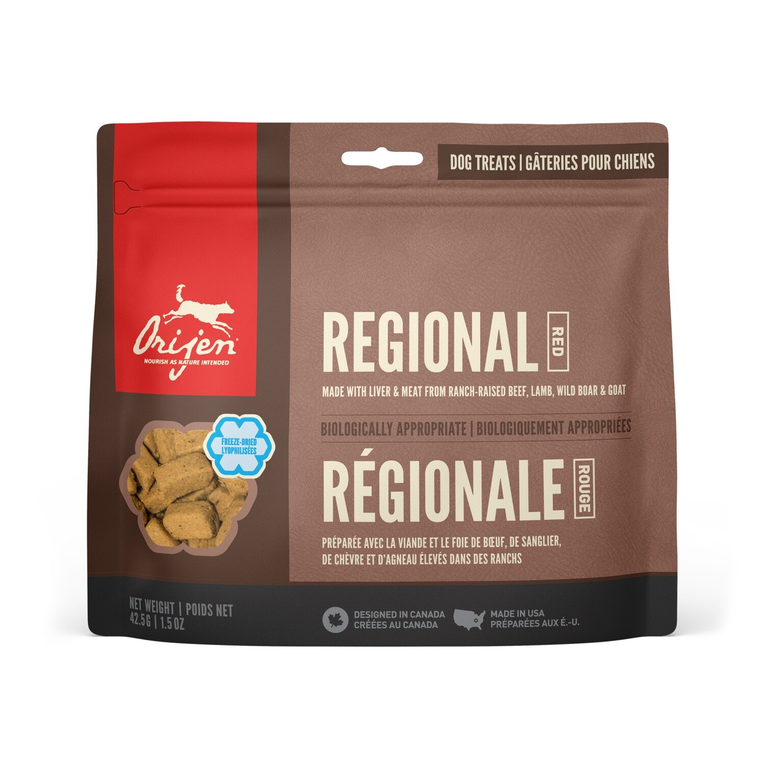 ORIJEN DOG TREAT REGIONAL RED 42.5G.