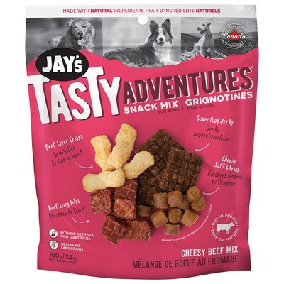 JAYS TASTY ADVENTURE BEEF SNACK MIX 100G.