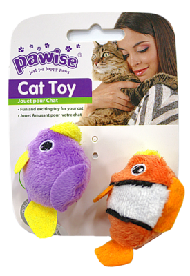 PAWISE FISH CAT TOY 2PK.