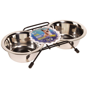 DOGIT SS DOUBLE BOWL SM 2 X 400ML.
