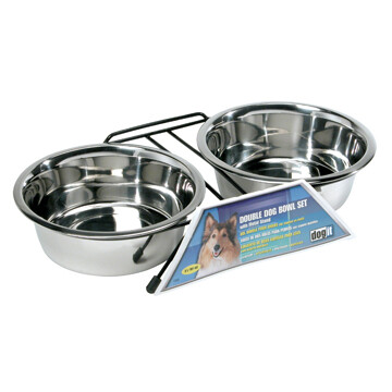 DOGIT SS DOUBLE BOWL LG 2 X 1.5L.