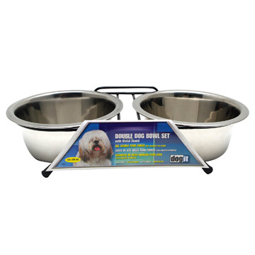 DOGIT SS DOUBLE DOG BOWL MED 2 X 750ML.