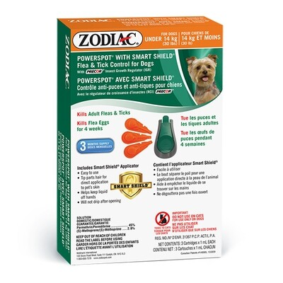 ZODIAC DOG FLEA & TICK SMARTSHIELD <14KG.