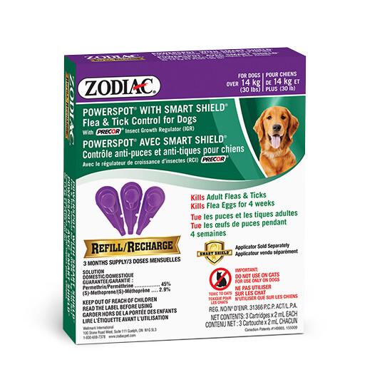 ZODIAC DOG FLEA & TICK SMARTSHIELD REFILL >14KG.