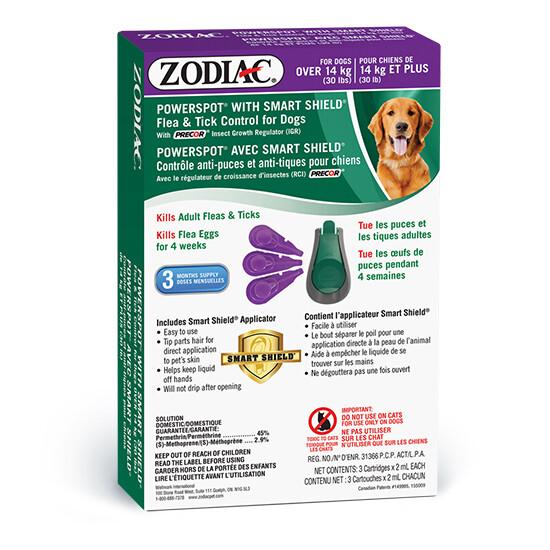 ZODIAC DOG FLEA & TICK SMARTSHIELD >14KG.