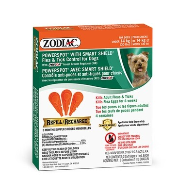 ZODIAC DOG FLEA & TICK SMARTSHIELD REFILL <14KG.