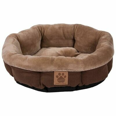 SNOOZZY RUSTIC ELEGANCE ROUND SHEARLING BED BROWN 17X4.5IN.