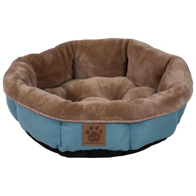 SNOOZZY RUSTIC ELEGANCE ROUND SHEARLING BED TEAL 17X4.5IN.