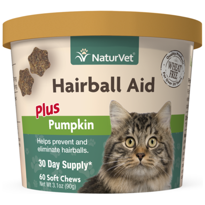 NATURVET HAIRBALL PLUS PUMPKIN SOFT CHEW 60PC.