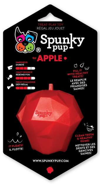 SPUNKY PUP TREAT HOLDING APPLE TOY.