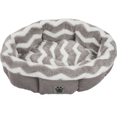 SNOOZY ZIGZAG SHEARLING ROUND GREY & WHITE 21IN.