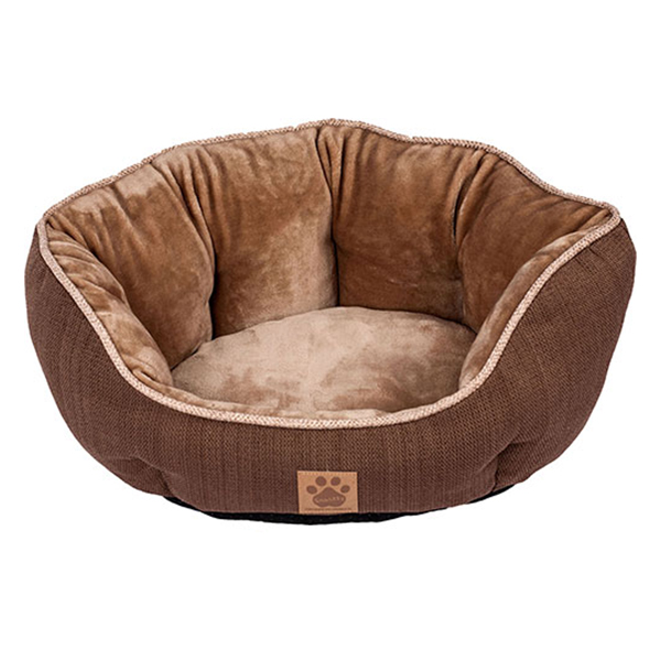 SNOOZZY RUSTIC CLAMSHELL BED 19X17X9IN BROWN.
