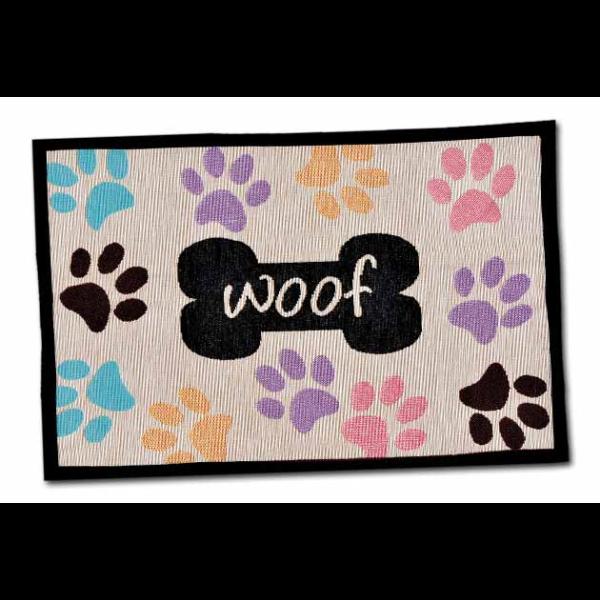 BELLA FASHION DOG WOOF W/ PAWS CHENILLE MAT.