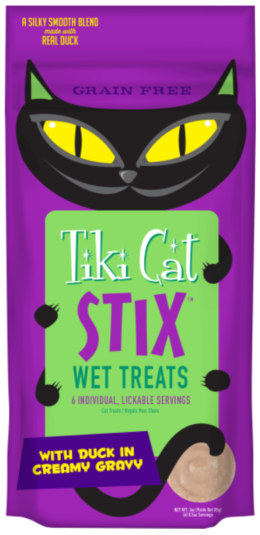 TIKI CAT STIX WET TREAT - DUCK IN GRAVY 6PK.