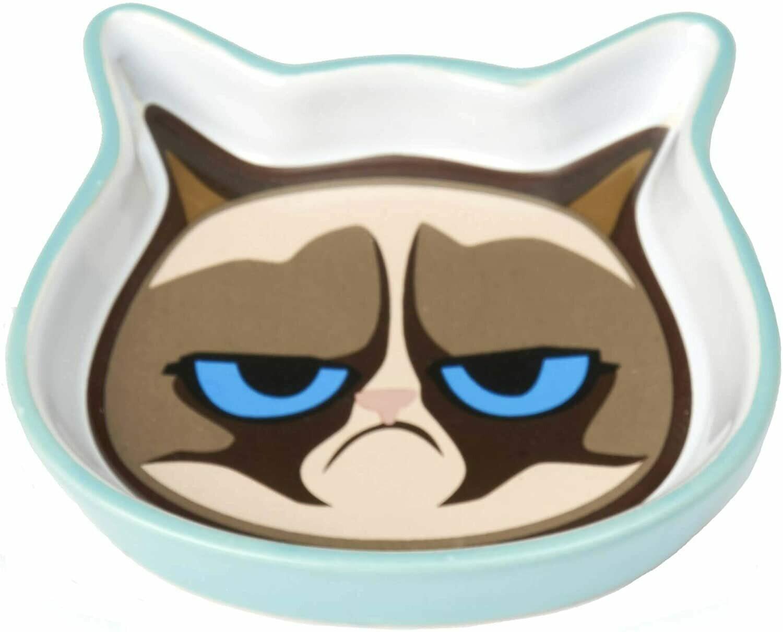 GRUMPY CAT SHALLOW SAUCER BLUE.