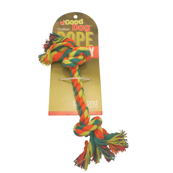 """GOOD DOG MULTI COLOR 2 KNOT ROPE TOY 7""""."""