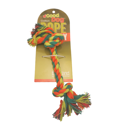 GOOD DOG MULTI COLOR 2 KNOT ROPE TOY 12