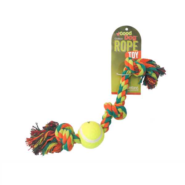 "GOOD DOG ROPE TOY W/ BALL 8""."