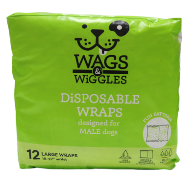 WAGS & WIGGLES DISPOSABLE MALE WRAP 18-27IN LG.