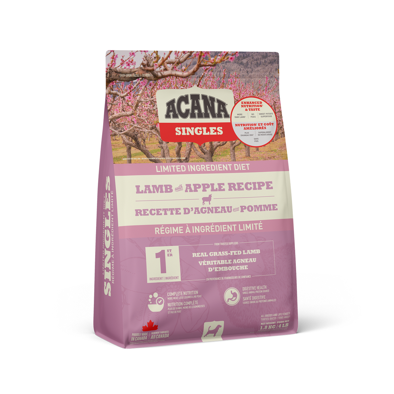 ACANA SINGLES DOG GRASS FED LAMB & APPLE 1.8KG