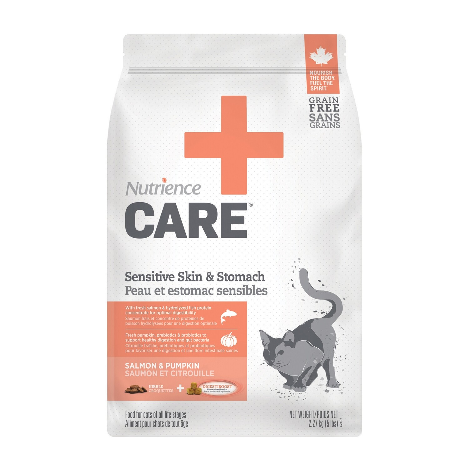 NUTRIENCE CARE  SENSITIVE SKIN & STOMACH F/CATS 2.27KG