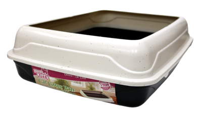 HERE KITTY DELUXE LITTER PAN W/RIM - MEDIUM