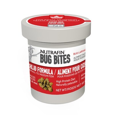 NUTRAFIN BUG BITES CICHLID FORMULA SM 45G.