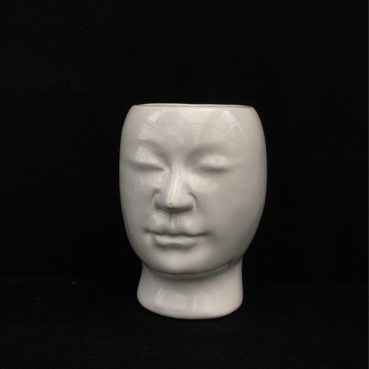 White Pot With Molded Face