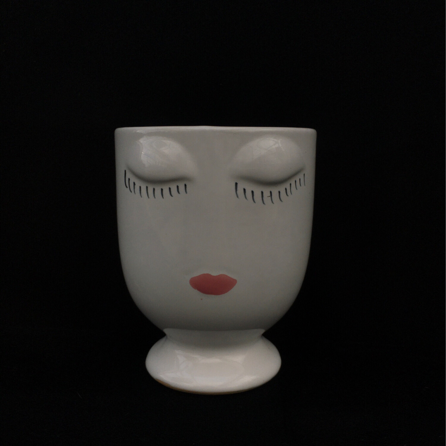 White Pot With Facial Features