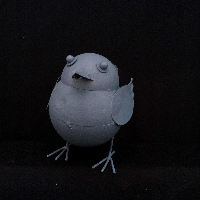 Silver Blue Metal Birdie