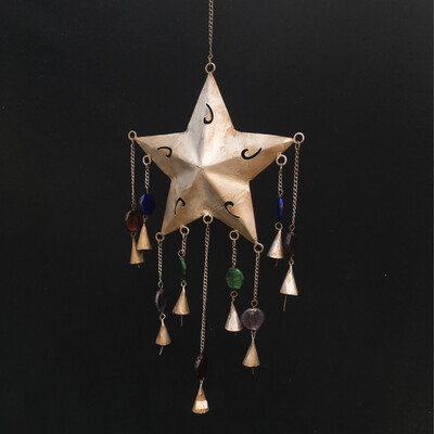 Hanging Star With Colourful Gems & Bells