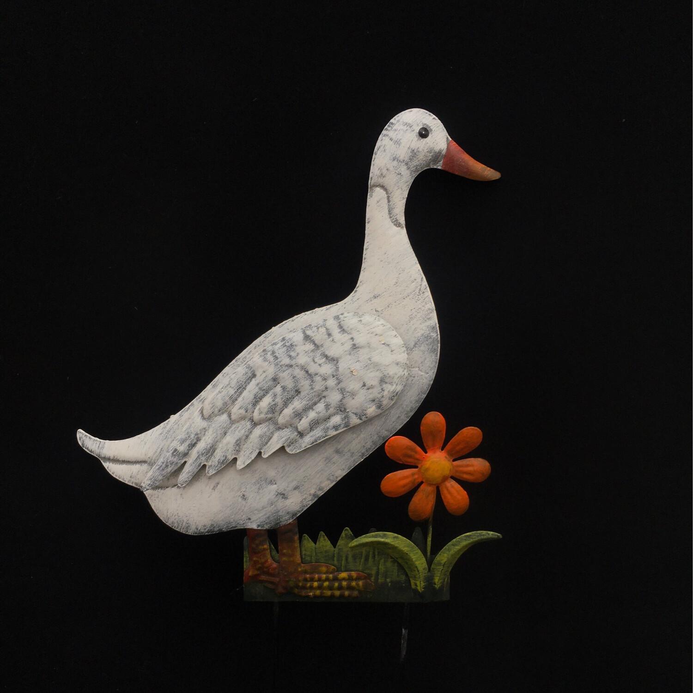 White Duck Garden Stake Decor
