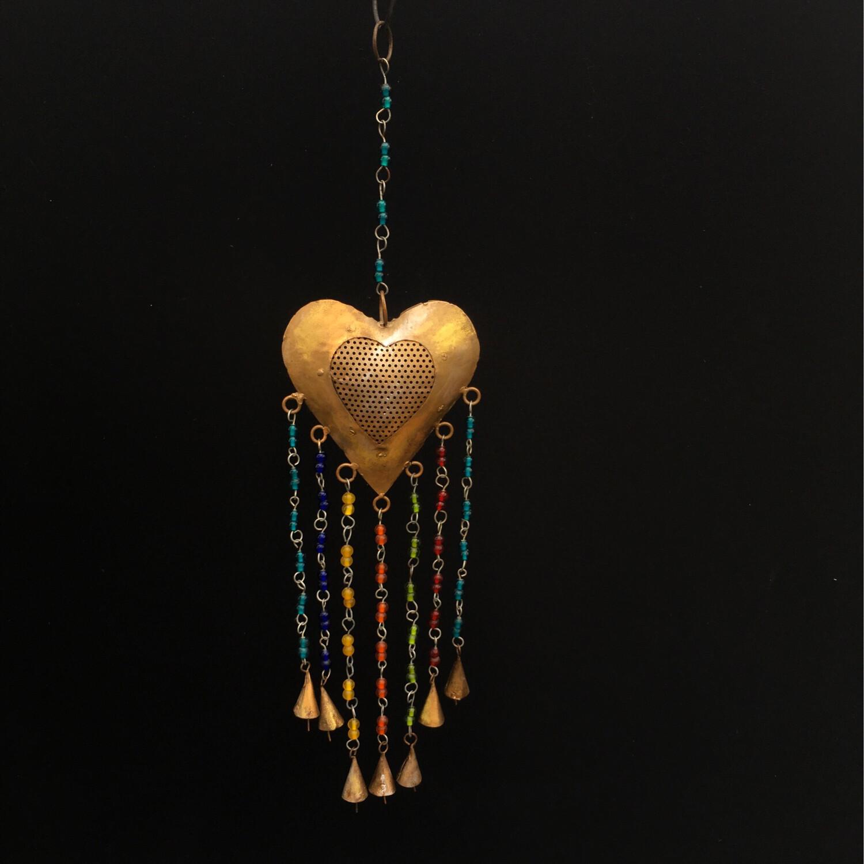 Hanging Metal Heart With Jewels & Bells