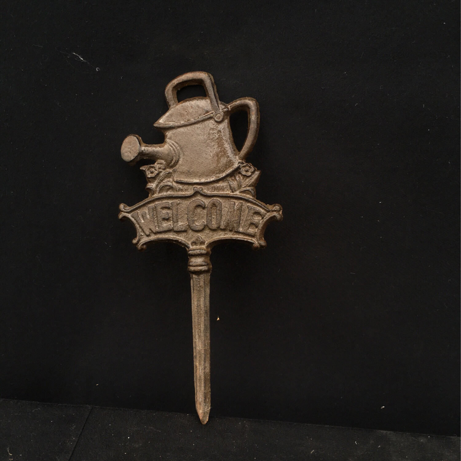 Small Cast Iron Watering Can Welcome Stake
